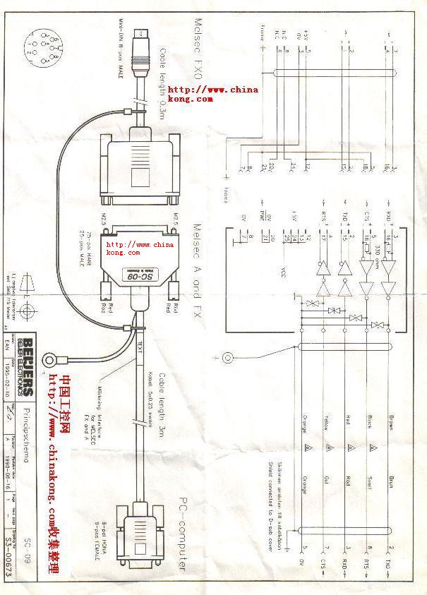 三菱PLC编程电缆SC 09电路图