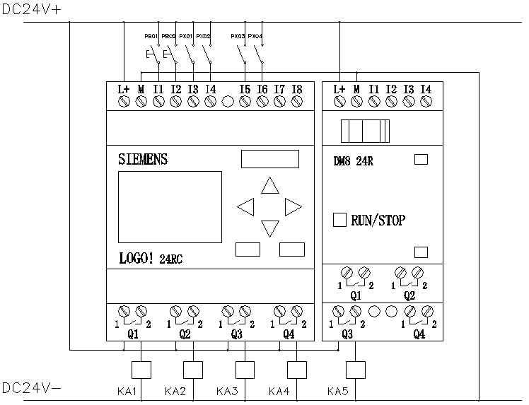 图1 卡瓣压装机结构图 卡瓣压装机结构及系统控制结构见图1和图2。系统由LOGO!实现对气门卡瓣压装机的过程控制。从安全的角度考虑,采用双手起动按钮起动。接近开关a、b、c检测压装气缸和托起气缸推出与返 图2 系统控制结构图  回的位置。 三、控制系统硬件设计 3.1 为何选用LOGO!