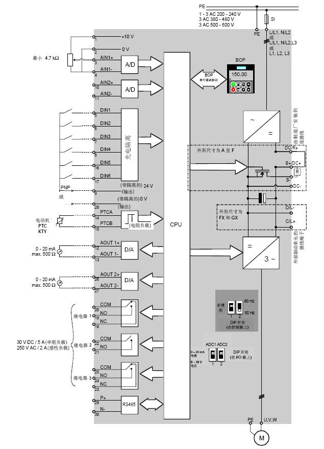 求:西门子440变频器端子接线图