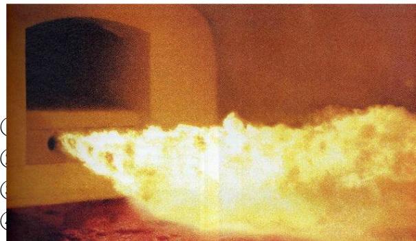 玻璃窑炉内燃烧喷火图