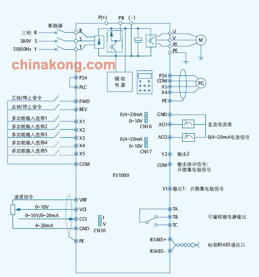 艾默生ev1000变频器接线图