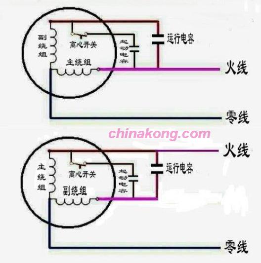 单相电容启动电机接线图