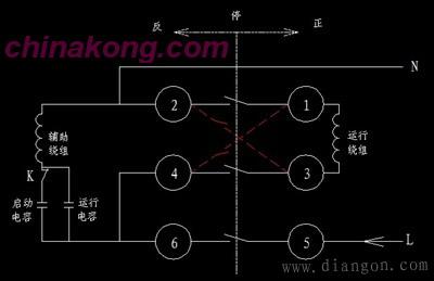 倒顺开关控制单相电动机正反转的电路图图片